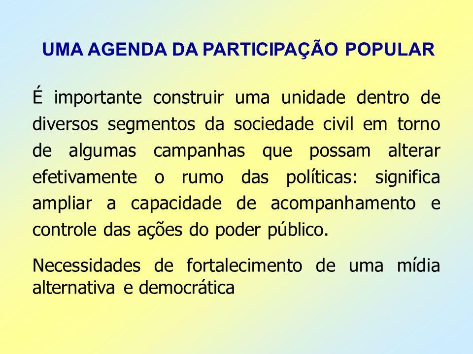 UMA AGENDA DA PARTICIPAÇÃO POPULAR É importante construir uma unidade dentro de diversos segmentos da sociedade civil em torno de algumas campanhas qu