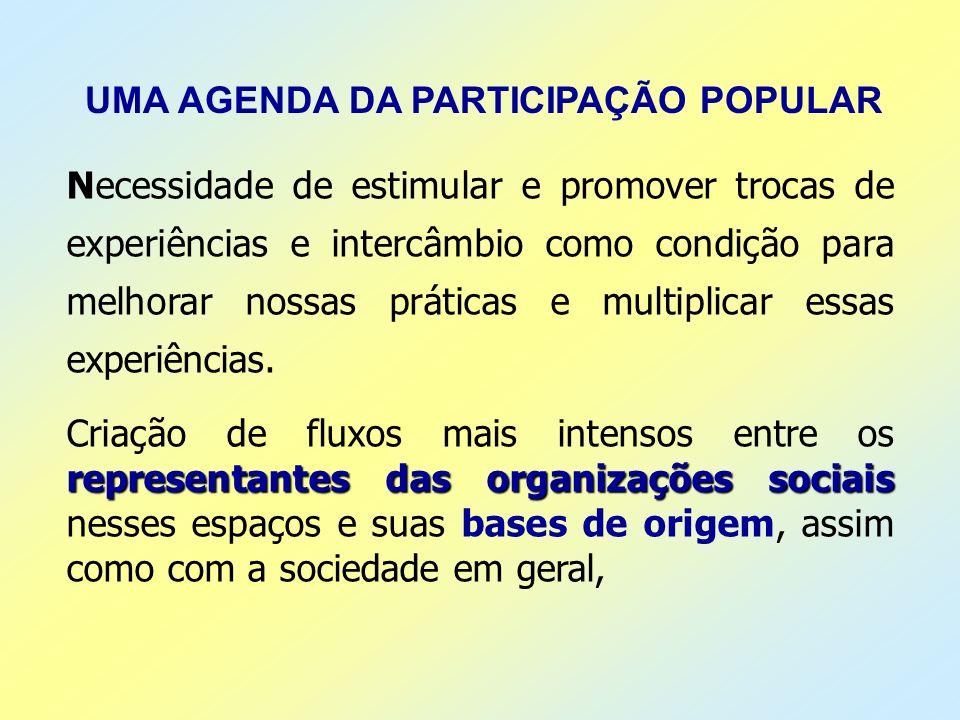 UMA AGENDA DA PARTICIPAÇÃO POPULAR Necessidade de estimular e promover trocas de experiências e intercâmbio como condição para melhorar nossas prática