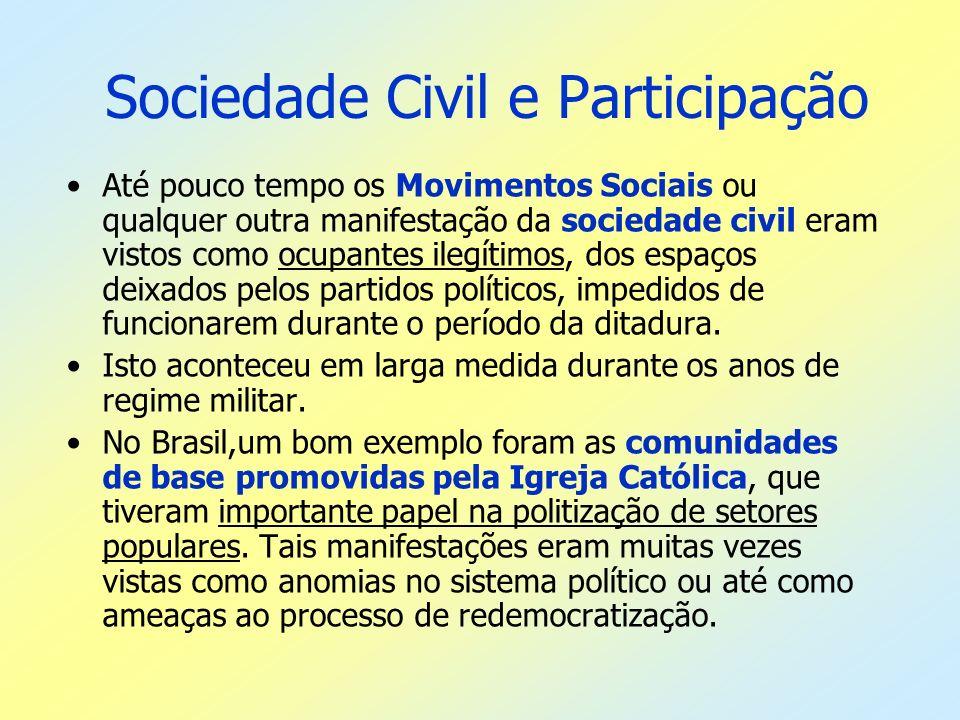 Sociedade Civil e Participação Até pouco tempo os Movimentos Sociais ou qualquer outra manifestação da sociedade civil eram vistos como ocupantes ileg