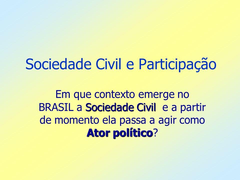 Sociedade Civil e Participação Sociedade Civil Ator político Em que contexto emerge no BRASIL a Sociedade Civil e a partir de momento ela passa a agir