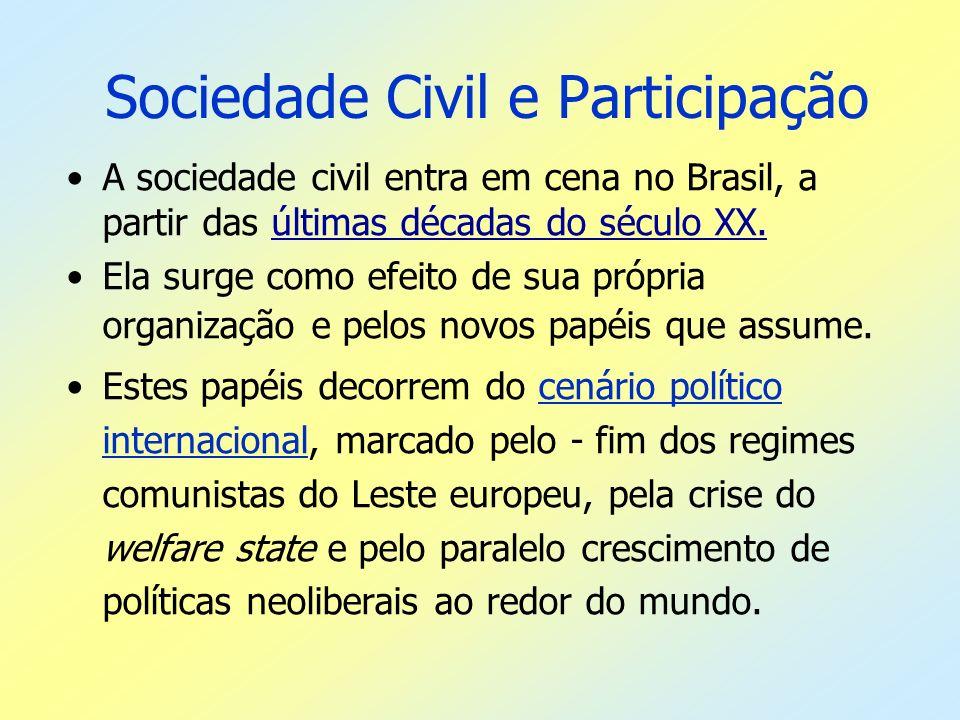 Sociedade Civil e Participação A sociedade civil entra em cena no Brasil, a partir das últimas décadas do século XX. Ela surge como efeito de sua próp