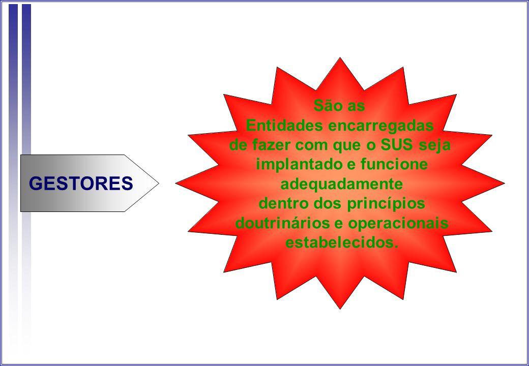 São as Entidades encarregadas de fazer com que o SUS seja implantado e funcione adequadamente dentro dos princípios doutrinários e operacionais estabe