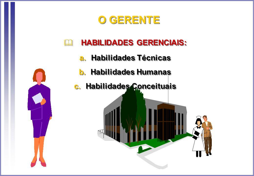 O GERENTE HABILIDADES GERENCIAIS: Habilidades Técnicas Habilidades Humanas Habilidades Conceituais HABILIDADES GERENCIAIS: Habilidades Técnicas Habili