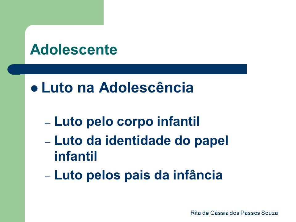 Rita de Cássia dos Passos Souza Adolescente Luto na Adolescência – Luto pelo corpo infantil – Luto da identidade do papel infantil – Luto pelos pais d