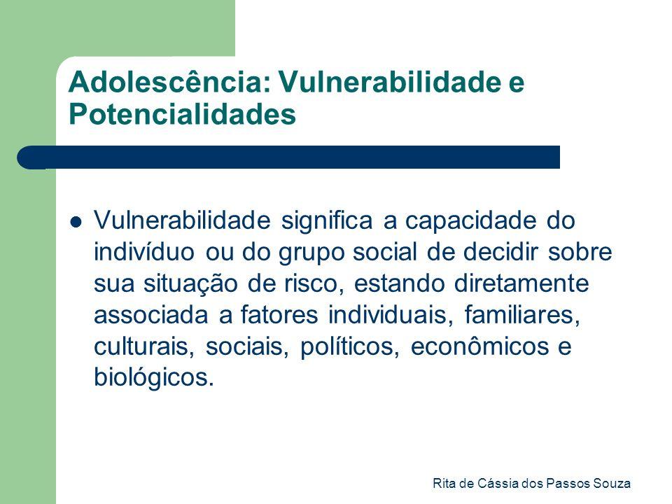 Rita de Cássia dos Passos Souza Adolescência: Vulnerabilidade e Potencialidades Vulnerabilidade significa a capacidade do indivíduo ou do grupo social