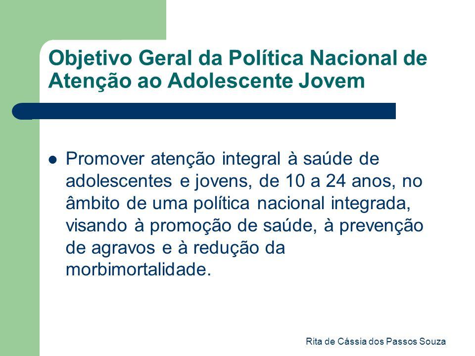 Rita de Cássia dos Passos Souza Objetivo Geral da Política Nacional de Atenção ao Adolescente Jovem Promover atenção integral à saúde de adolescentes