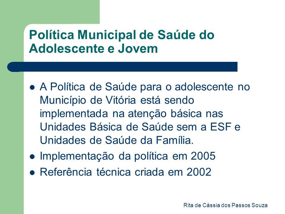 Rita de Cássia dos Passos Souza Política Municipal de Saúde do Adolescente e Jovem A Política de Saúde para o adolescente no Município de Vitória está