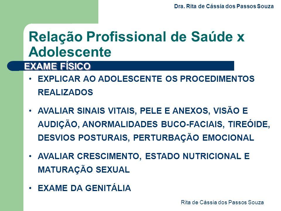 Rita de Cássia dos Passos Souza EXPLICAR AO ADOLESCENTE OS PROCEDIMENTOS REALIZADOS AVALIAR SINAIS VITAIS, PELE E ANEXOS, VISÃO E AUDIÇÃO, ANORMALIDAD
