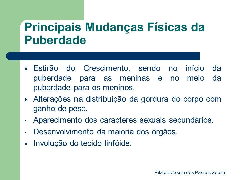 Rita de Cássia dos Passos Souza Principais Mudanças Físicas da Puberdade Estirão do Crescimento, sendo no início da puberdade para as meninas e no mei