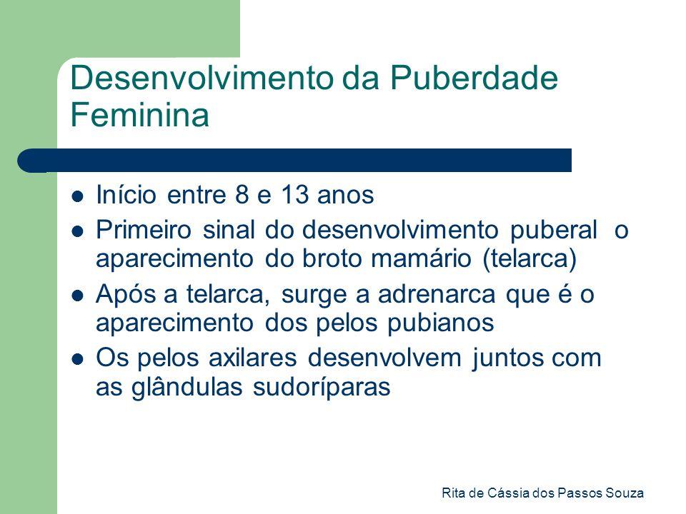 Rita de Cássia dos Passos Souza Desenvolvimento da Puberdade Feminina Início entre 8 e 13 anos Primeiro sinal do desenvolvimento puberal o apareciment