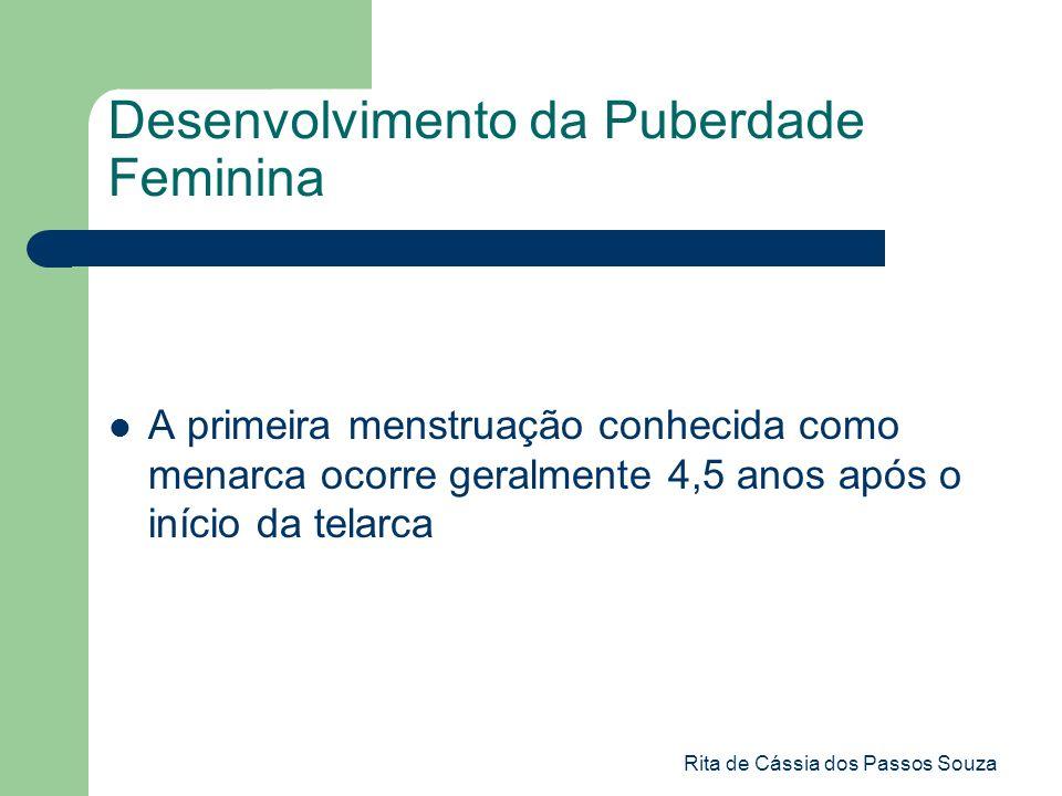 Rita de Cássia dos Passos Souza Desenvolvimento da Puberdade Feminina A primeira menstruação conhecida como menarca ocorre geralmente 4,5 anos após o
