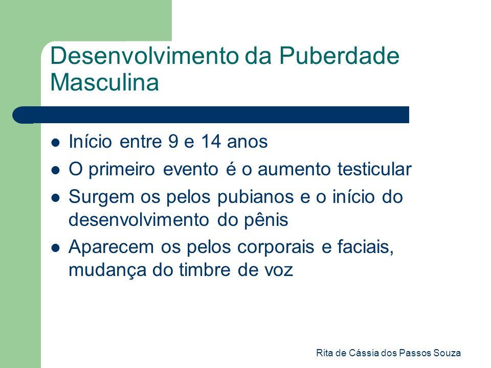 Rita de Cássia dos Passos Souza Desenvolvimento da Puberdade Masculina Início entre 9 e 14 anos O primeiro evento é o aumento testicular Surgem os pel