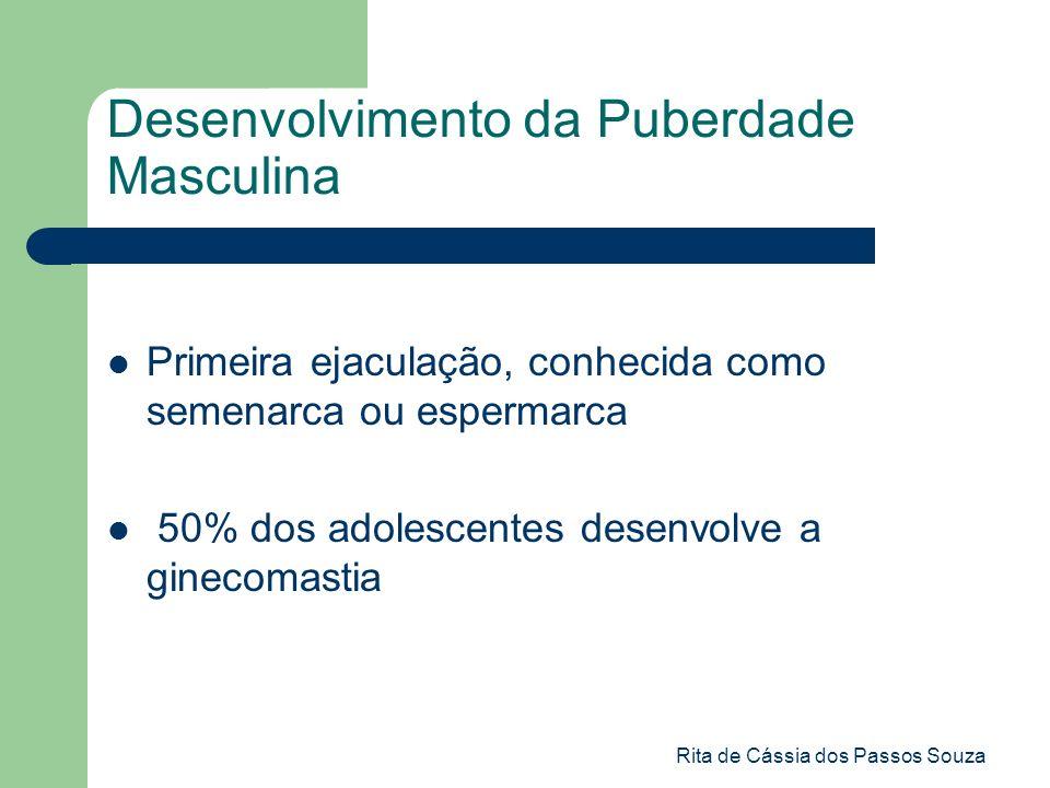 Rita de Cássia dos Passos Souza Desenvolvimento da Puberdade Masculina Primeira ejaculação, conhecida como semenarca ou espermarca 50% dos adolescente