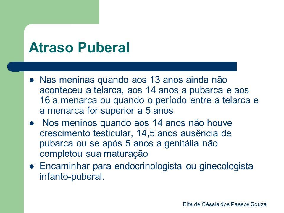Rita de Cássia dos Passos Souza Atraso Puberal Nas meninas quando aos 13 anos ainda não aconteceu a telarca, aos 14 anos a pubarca e aos 16 a menarca