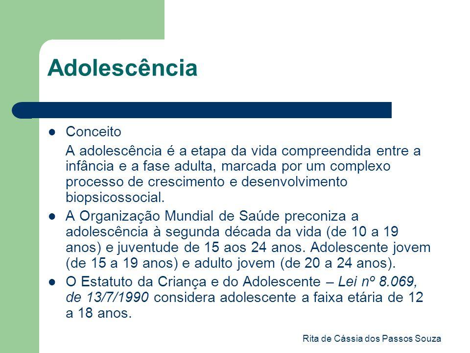 Rita de Cássia dos Passos Souza Adolescência Conceito A adolescência é a etapa da vida compreendida entre a infância e a fase adulta, marcada por um c