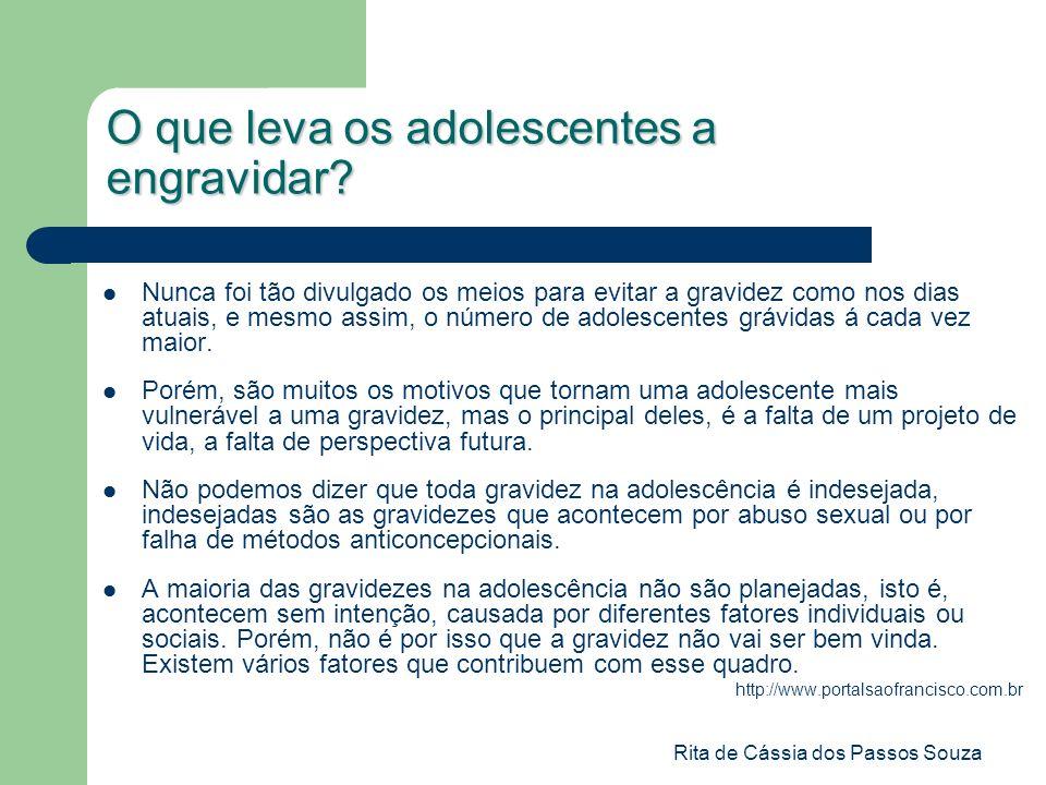 Rita de Cássia dos Passos Souza O que leva os adolescentes a engravidar? Nunca foi tão divulgado os meios para evitar a gravidez como nos dias atuais,