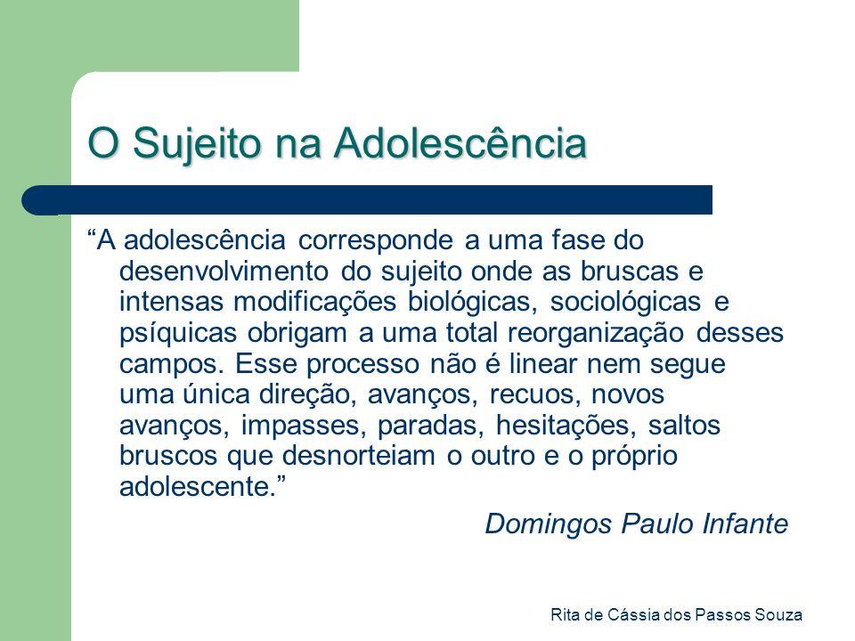 Rita de Cássia dos Passos Souza O Sujeito na Adolescência A adolescência corresponde a uma fase do desenvolvimento do sujeito onde as bruscas e intens