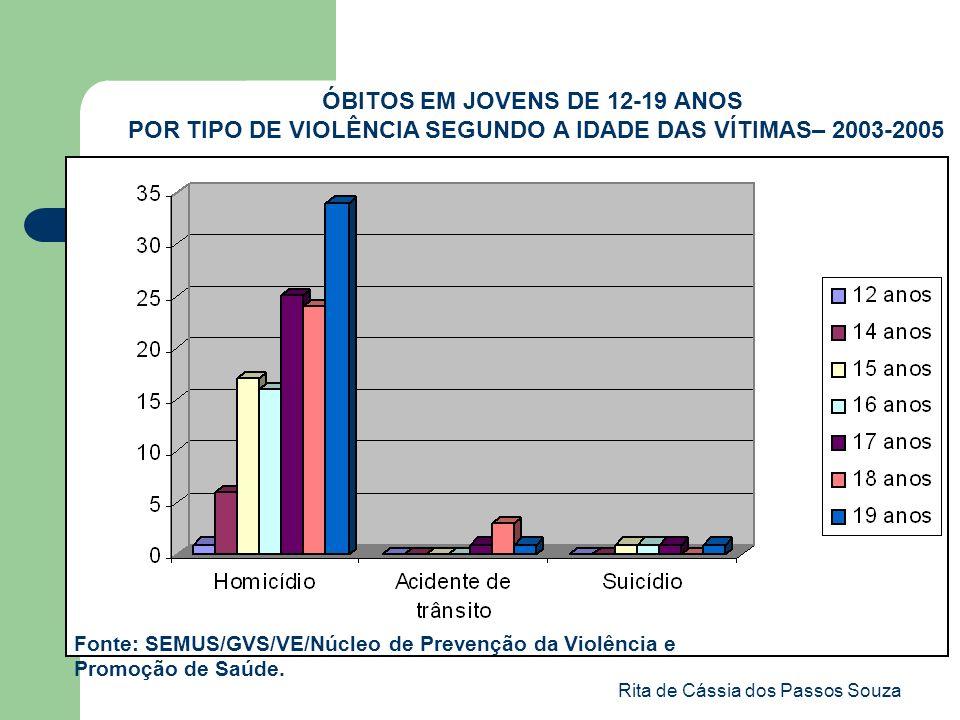 Rita de Cássia dos Passos Souza ÓBITOS EM JOVENS DE 12-19 ANOS POR TIPO DE VIOLÊNCIA SEGUNDO A IDADE DAS VÍTIMAS– 2003-2005 Fonte: SEMUS/GVS/VE/Núcleo