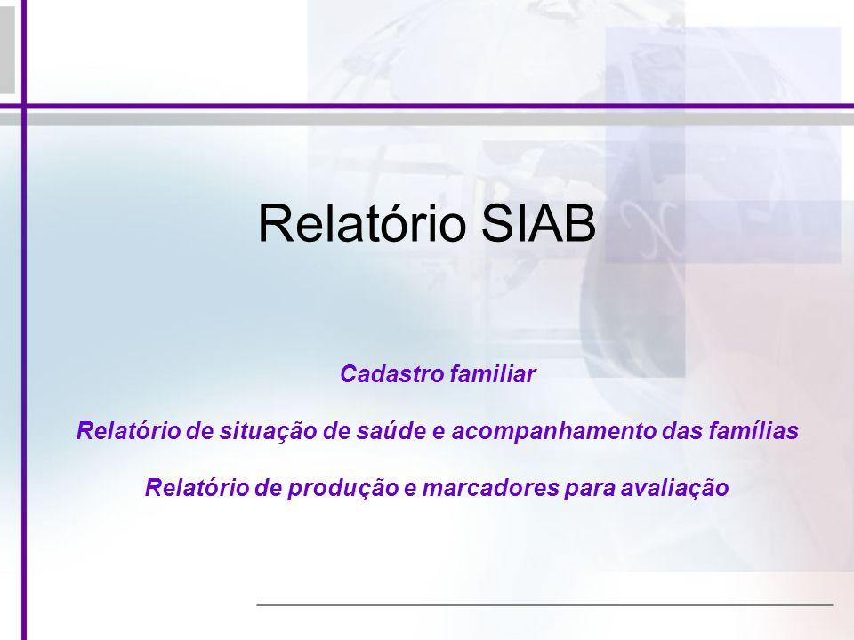 Relatório SIAB Cadastro familiar Relatório de situação de saúde e acompanhamento das famílias Relatório de produção e marcadores para avaliação