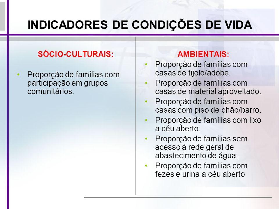 SÓCIO-CULTURAIS: Proporção de famílias com participação em grupos comunitários. AMBIENTAIS: Proporção de famílias com casas de tijolo/adobe. Proporção