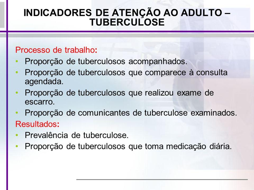 INDICADORES DE ATENÇÃO AO ADULTO – TUBERCULOSE Processo de trabalho: Proporção de tuberculosos acompanhados. Proporção de tuberculosos que comparece à