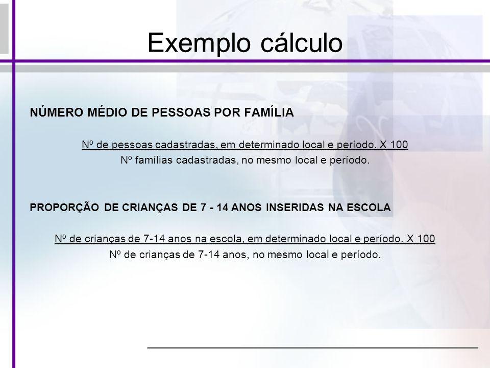 NÚMERO MÉDIO DE PESSOAS POR FAMÍLIA Nº de pessoas cadastradas, em determinado local e período. X 100 Nº famílias cadastradas, no mesmo local e período