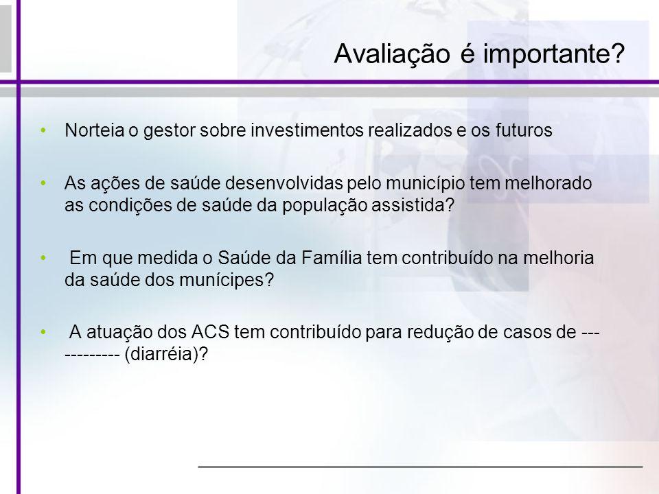 Avaliação é importante? Norteia o gestor sobre investimentos realizados e os futuros As ações de saúde desenvolvidas pelo município tem melhorado as c