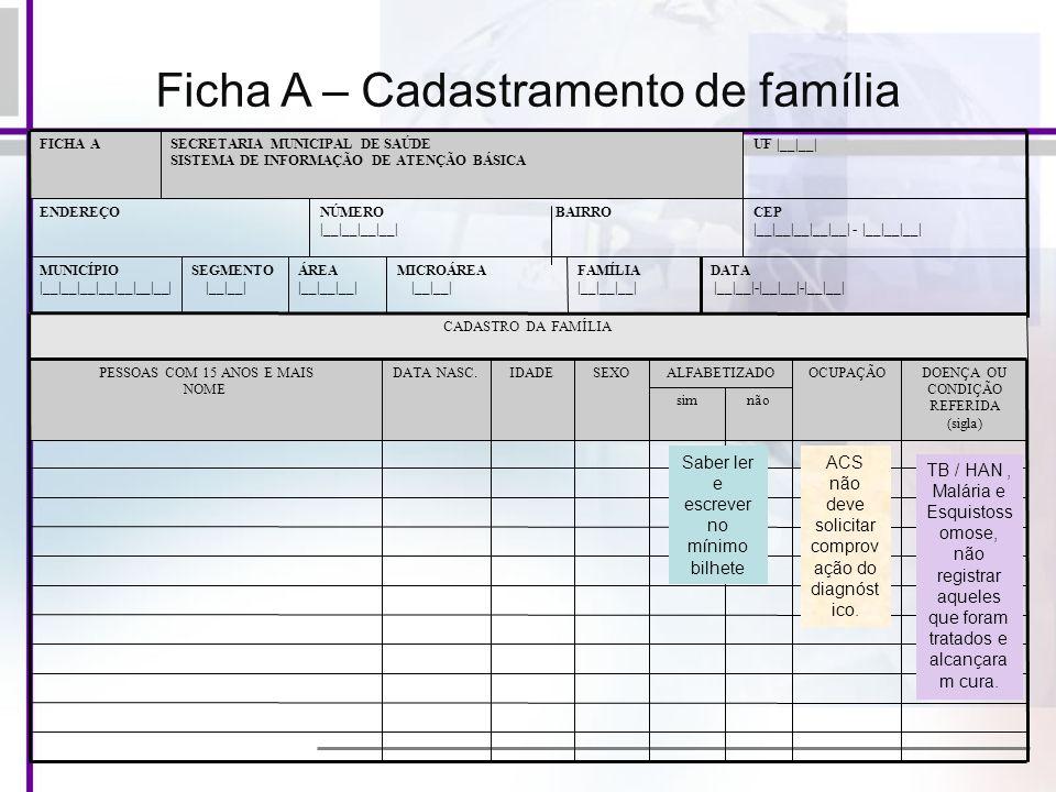 Ficha A – Cadastramento de família DATA |__|__|-|__|__|-|__|__| FAMÍLIA |__|__|__| MICROÁREA |__|__| ÁREA |__|__|__| SEGMENTO |__|__| MUNICÍPIO |__|__