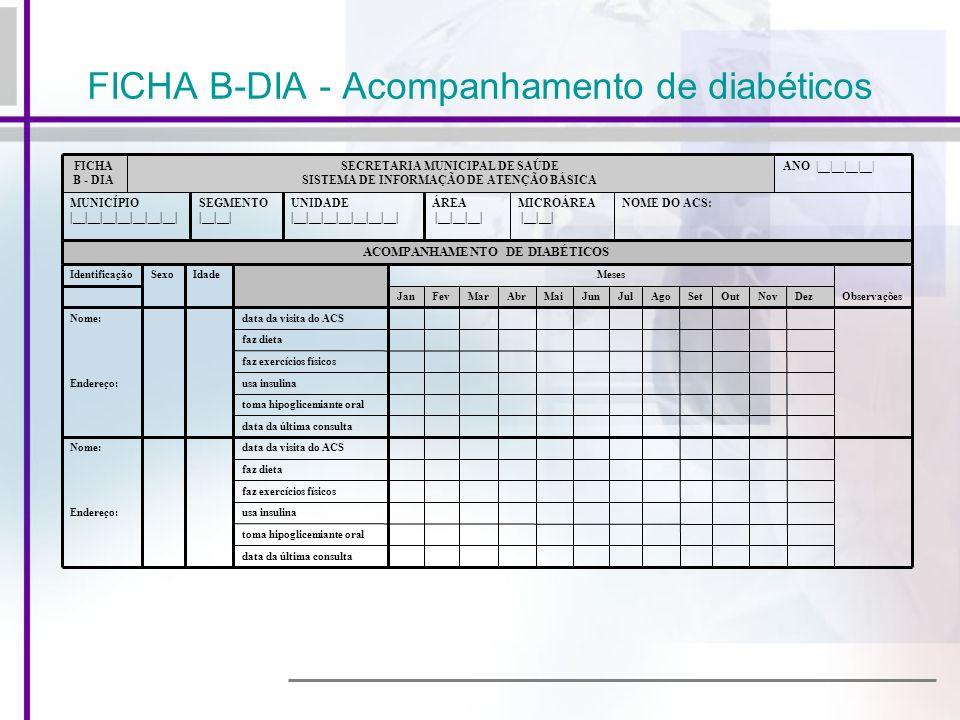 FICHA B-DIA - Acompanhamento de diabéticos NOME DO ACS:MICROÁREA |__|__| ÁREA |__|__|__| UNIDADE |__|__|__|__|__|__|__| SEGMENTO |__|__| MUNICÍPIO |__