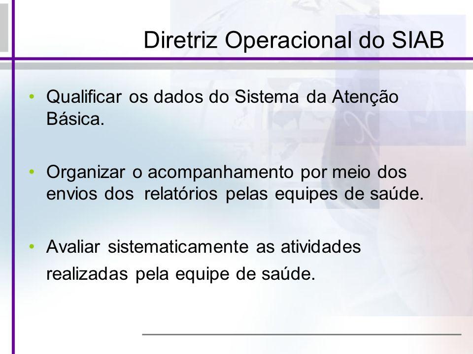 Diretriz Operacional do SIAB Qualificar os dados do Sistema da Atenção Básica. Organizar o acompanhamento por meio dos envios dos relatórios pelas equ