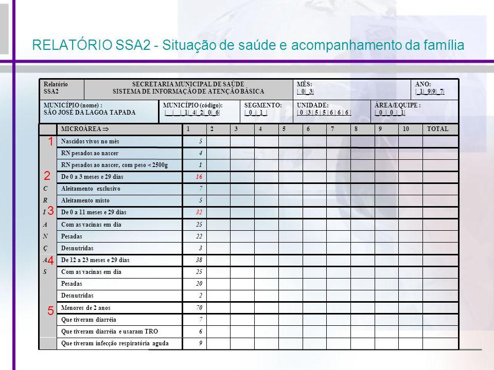 RELATÓRIO SSA2 - Situação de saúde e acompanhamento da família ÁREA/EQUIPE : |_0_|_0_|_1| UNIDADE: | 0 |3 | 5 | 5 | 6 | 6 | 6 | SEGMENTO: |_0_|_1_| MU