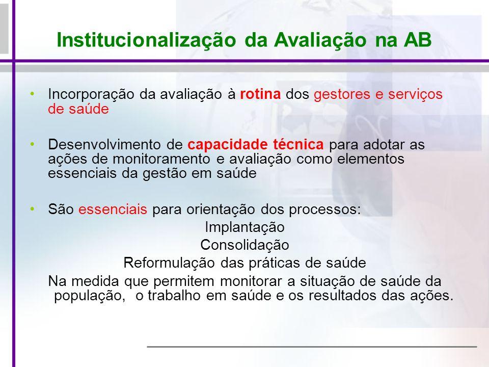 Institucionalização da Avaliação na AB Incorporação da avaliação à rotina dos gestores e serviços de saúde Desenvolvimento de capacidade técnica para