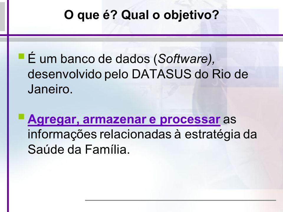 O que é? Qual o objetivo? É um banco de dados (Software), desenvolvido pelo DATASUS do Rio de Janeiro. Agregar, armazenar e processar as informações r