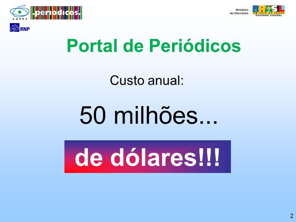 2 Portal de Periódicos Custo anual: 50 milhões... de dólares!!!