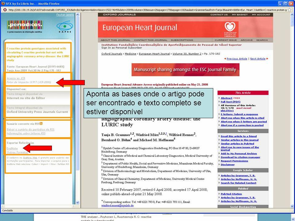38 Aponta as bases onde o artigo pode ser encontrado e texto completo se estiver disponível