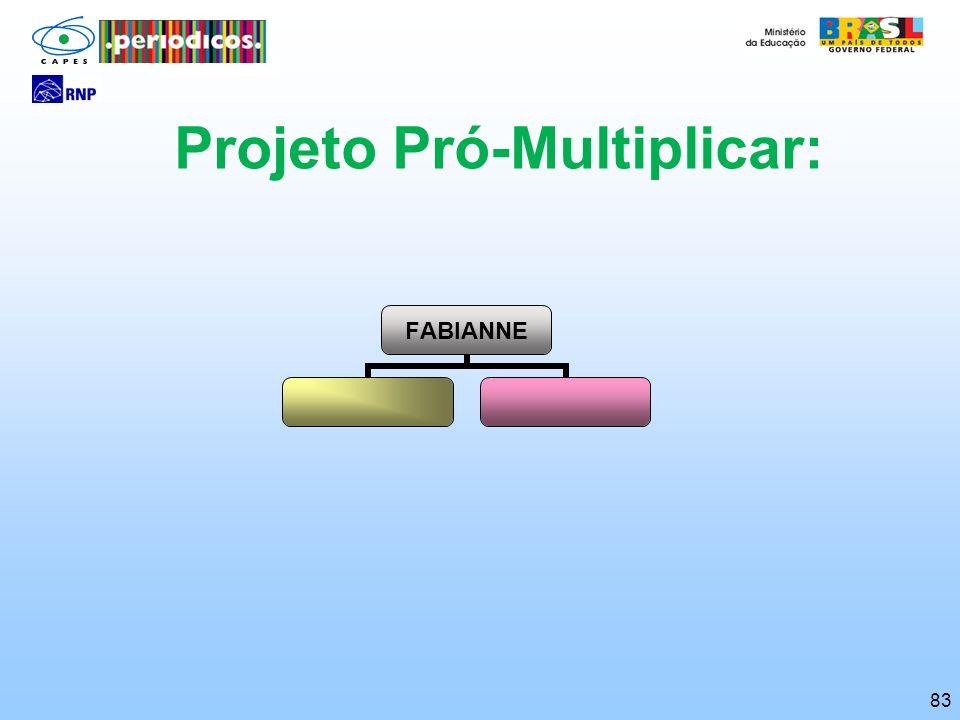 83 Projeto Pró-Multiplicar: FABIANNE