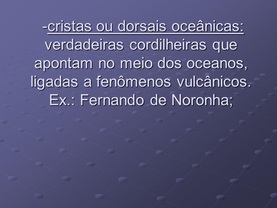-cristas ou dorsais oceânicas: verdadeiras cordilheiras que apontam no meio dos oceanos, ligadas a fenômenos vulcânicos. Ex.: Fernando de Noronha; -cr