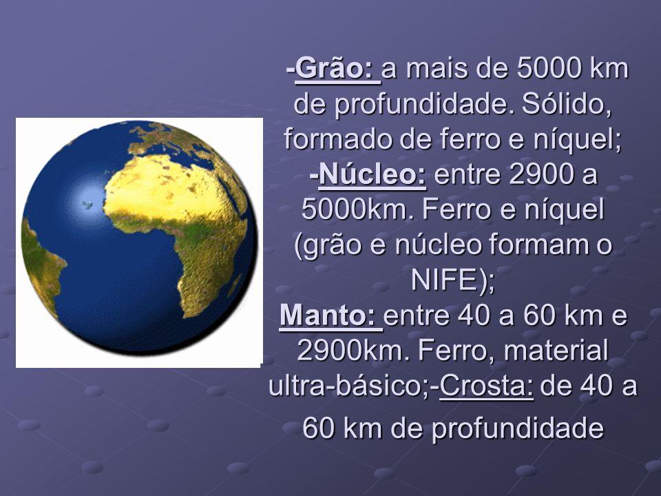 -Grão: a mais de 5000 km de profundidade. Sólido, formado de ferro e níquel; -Núcleo: entre 2900 a 5000km. Ferro e níquel (grão e núcleo formam o NIFE