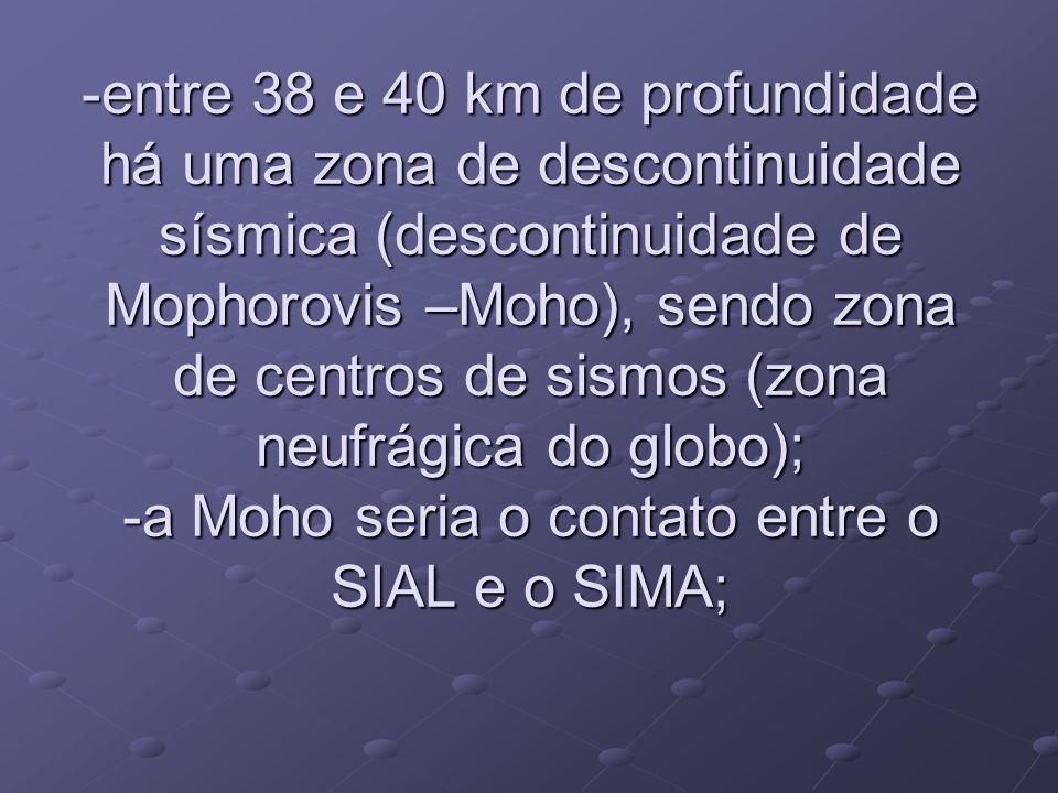 -entre 38 e 40 km de profundidade há uma zona de descontinuidade sísmica (descontinuidade de Mophorovis –Moho), sendo zona de centros de sismos (zona