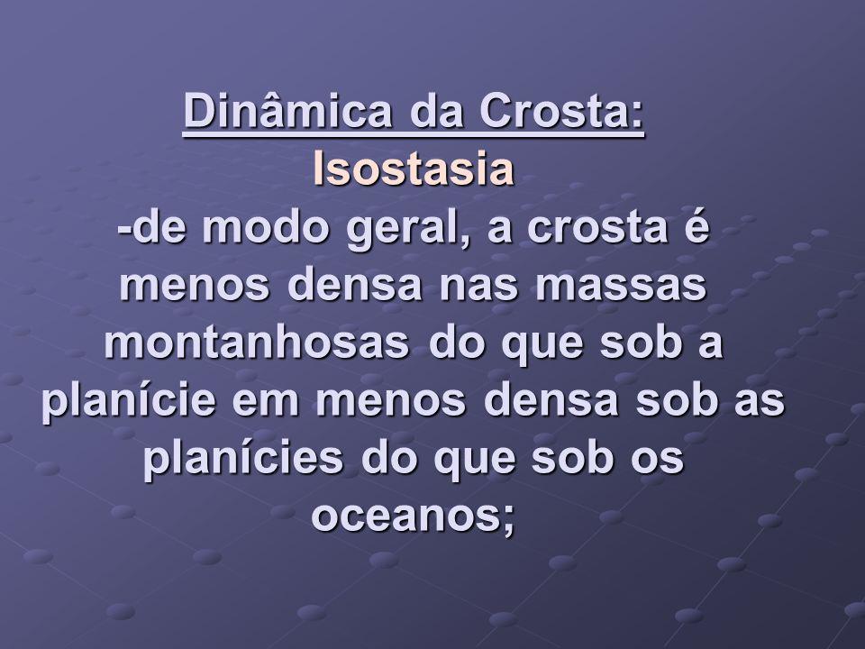 Dinâmica da Crosta: Isostasia -de modo geral, a crosta é menos densa nas massas montanhosas do que sob a planície em menos densa sob as planícies do q