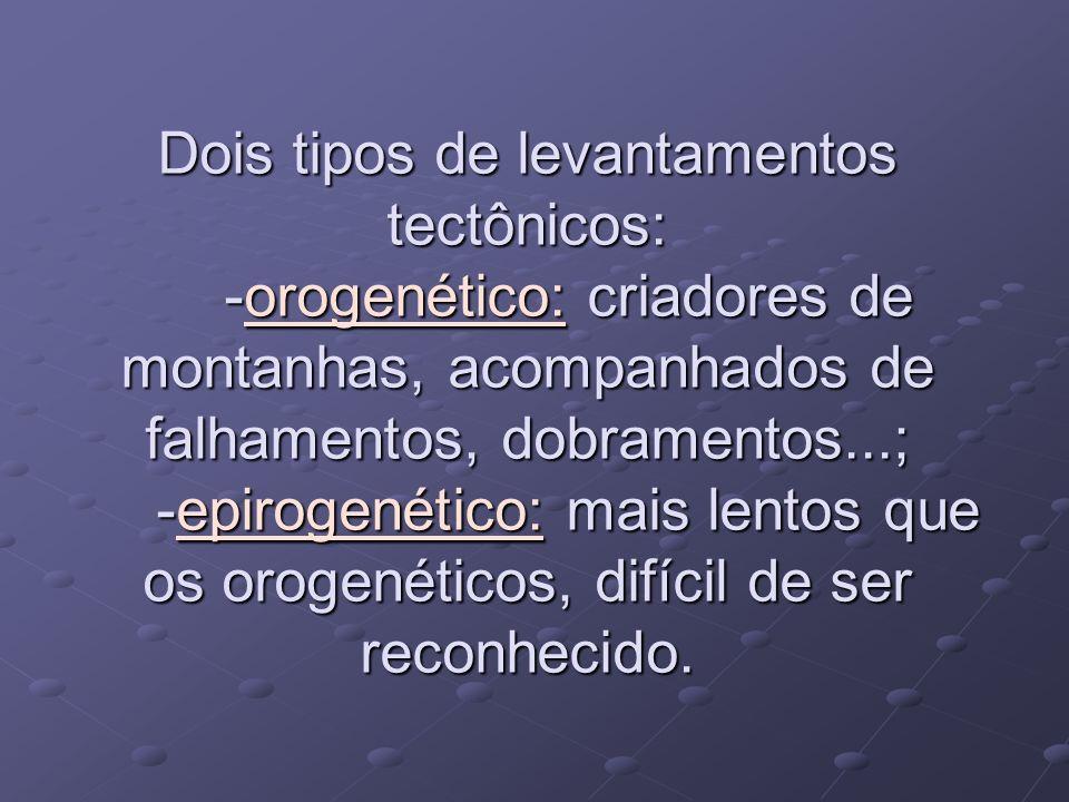 Dois tipos de levantamentos tectônicos: -orogenético: criadores de montanhas, acompanhados de falhamentos, dobramentos...; -epirogenético: mais lentos