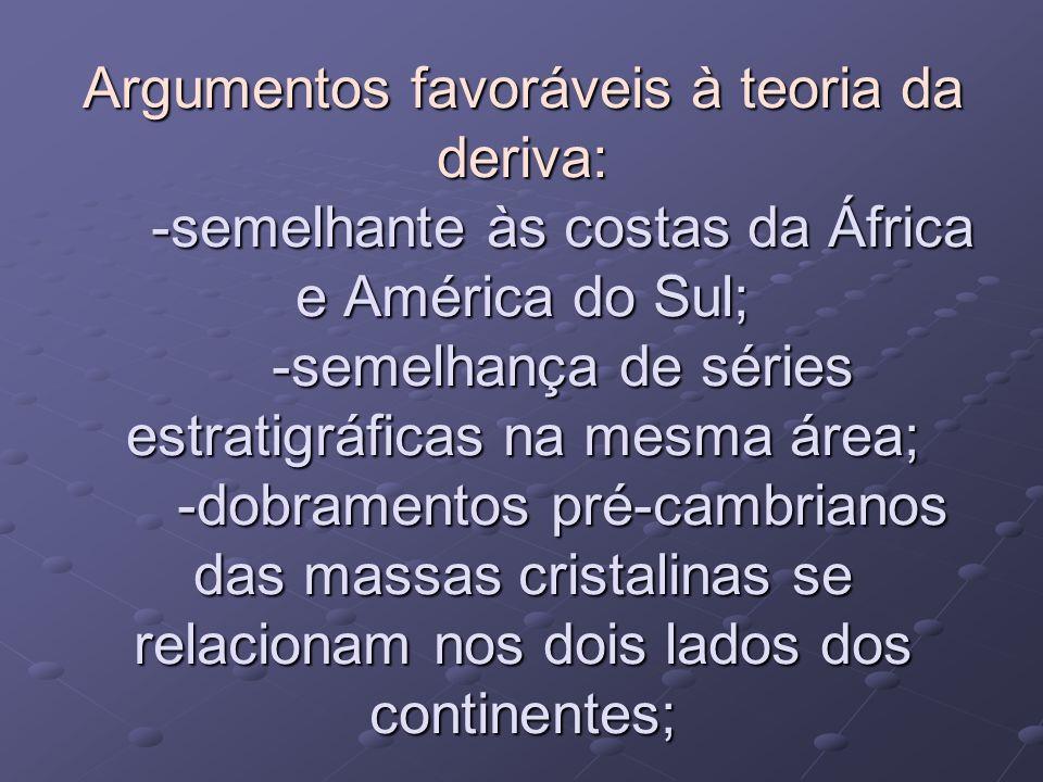 Argumentos favoráveis à teoria da deriva: -semelhante às costas da África e América do Sul; -semelhança de séries estratigráficas na mesma área; -dobr