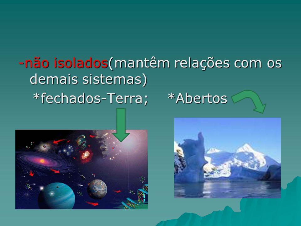 -não isolados(mantêm relações com os demais sistemas) *fechados-Terra; *Abertos *fechados-Terra; *Abertos