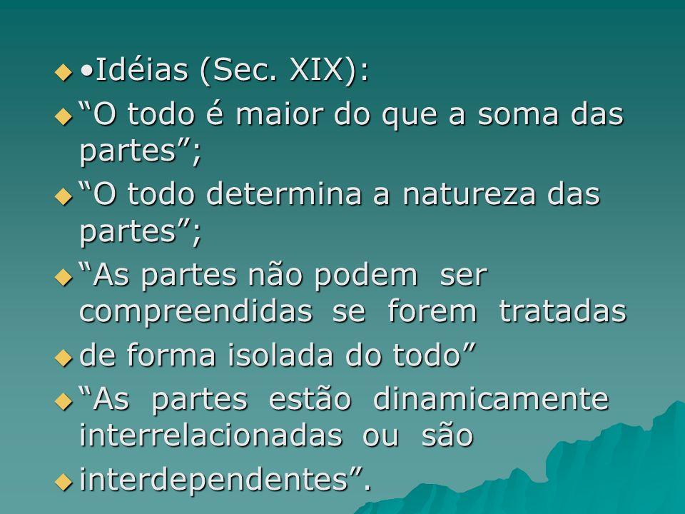 Idéias (Sec. XIX): Idéias (Sec. XIX): O todo é maior do que a soma das partes; O todo é maior do que a soma das partes; O todo determina a natureza da