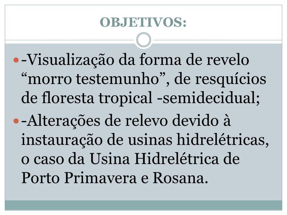 OBJETIVOS: -Visualização da forma de revelo morro testemunho, de resquícios de floresta tropical -semidecidual; -Alterações de relevo devido à instaur