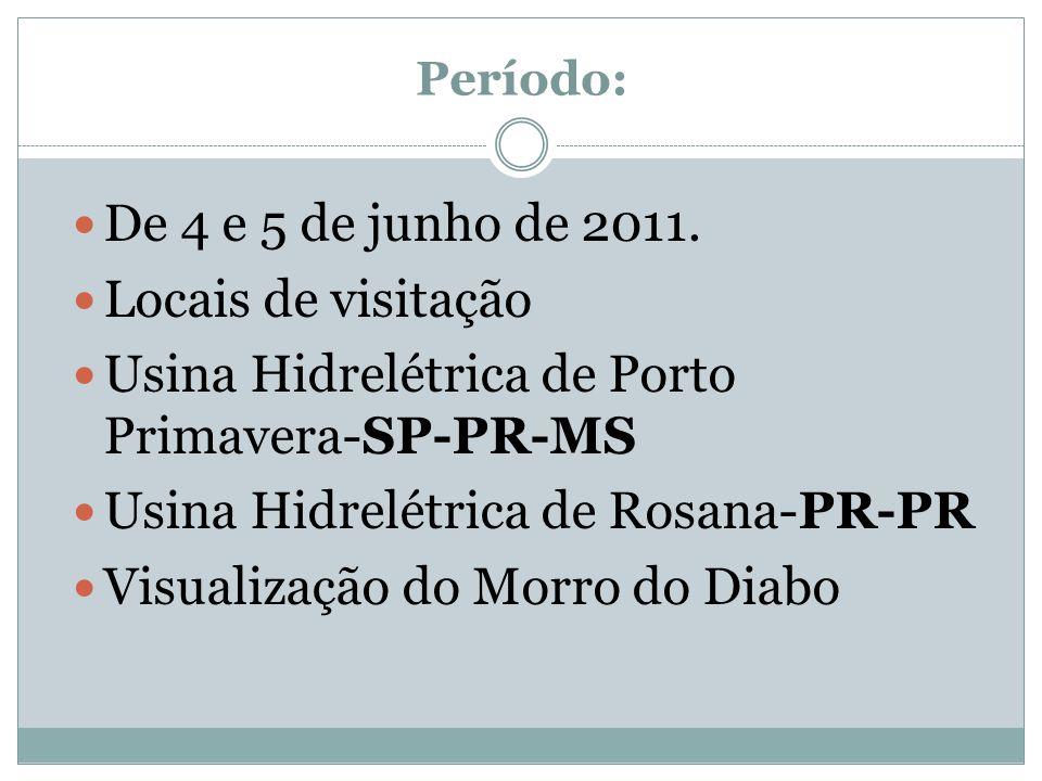 Período: De 4 e 5 de junho de 2011. Locais de visitação Usina Hidrelétrica de Porto Primavera-SP-PR-MS Usina Hidrelétrica de Rosana-PR-PR Visualização