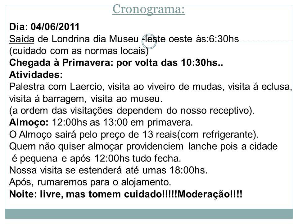 Cronograma: Dia: 04/06/2011 Saída de Londrina dia Museu -leste oeste às:6:30hs (cuidado com as normas locais) Chegada à Primavera: por volta das 10:30