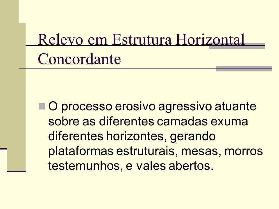 Relevo em Estrutura Horizontal Concordante O processo erosivo agressivo atuante sobre as diferentes camadas exuma diferentes horizontes, gerando plata