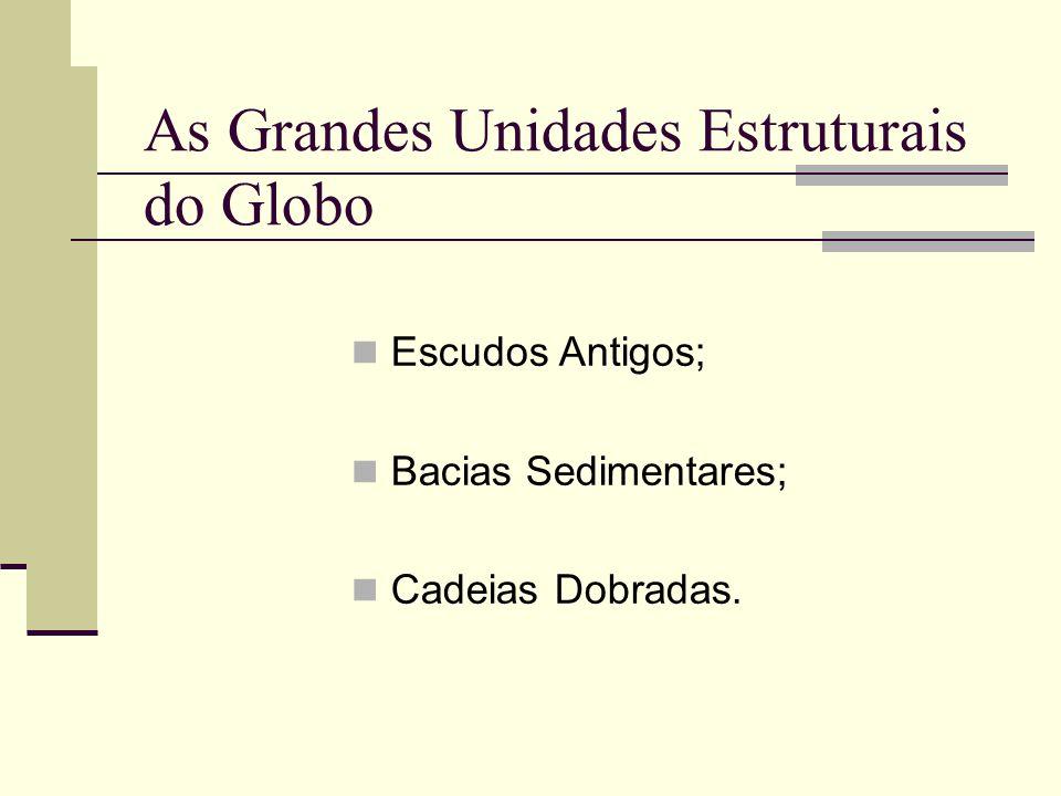 As Grandes Unidades Estruturais do Globo Escudos Antigos; Bacias Sedimentares; Cadeias Dobradas.
