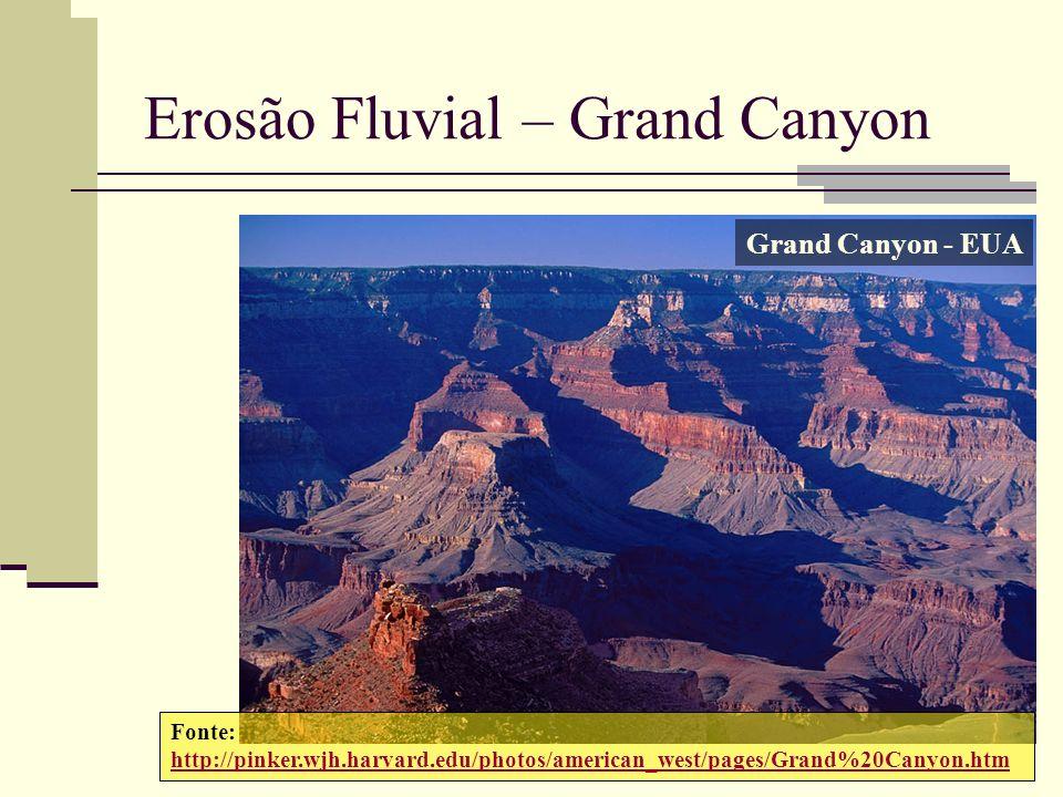 Erosão Fluvial – Grand Canyon Fonte: http://pinker.wjh.harvard.edu/photos/american_west/pages/Grand%20Canyon.htm Grand Canyon - EUA